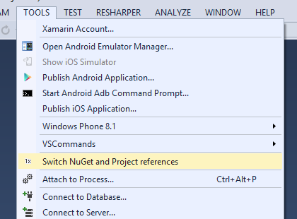 NuGet Reference Switcher for Visual Studio 2015 - Visual